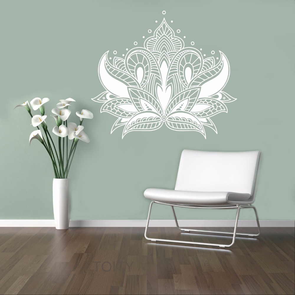 Paisley Flower Wall Vinyl Sticker Fl Ethnic Ornament Room Decal Indian Religions Home Decor Housewares Art Mural In Stickers From