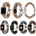 9 colorfor apple watch iwatchbands buclkle cuerda del paracaídas al aire libre de acero inoxidable correa correa de reloj clásico con adaptador de conector