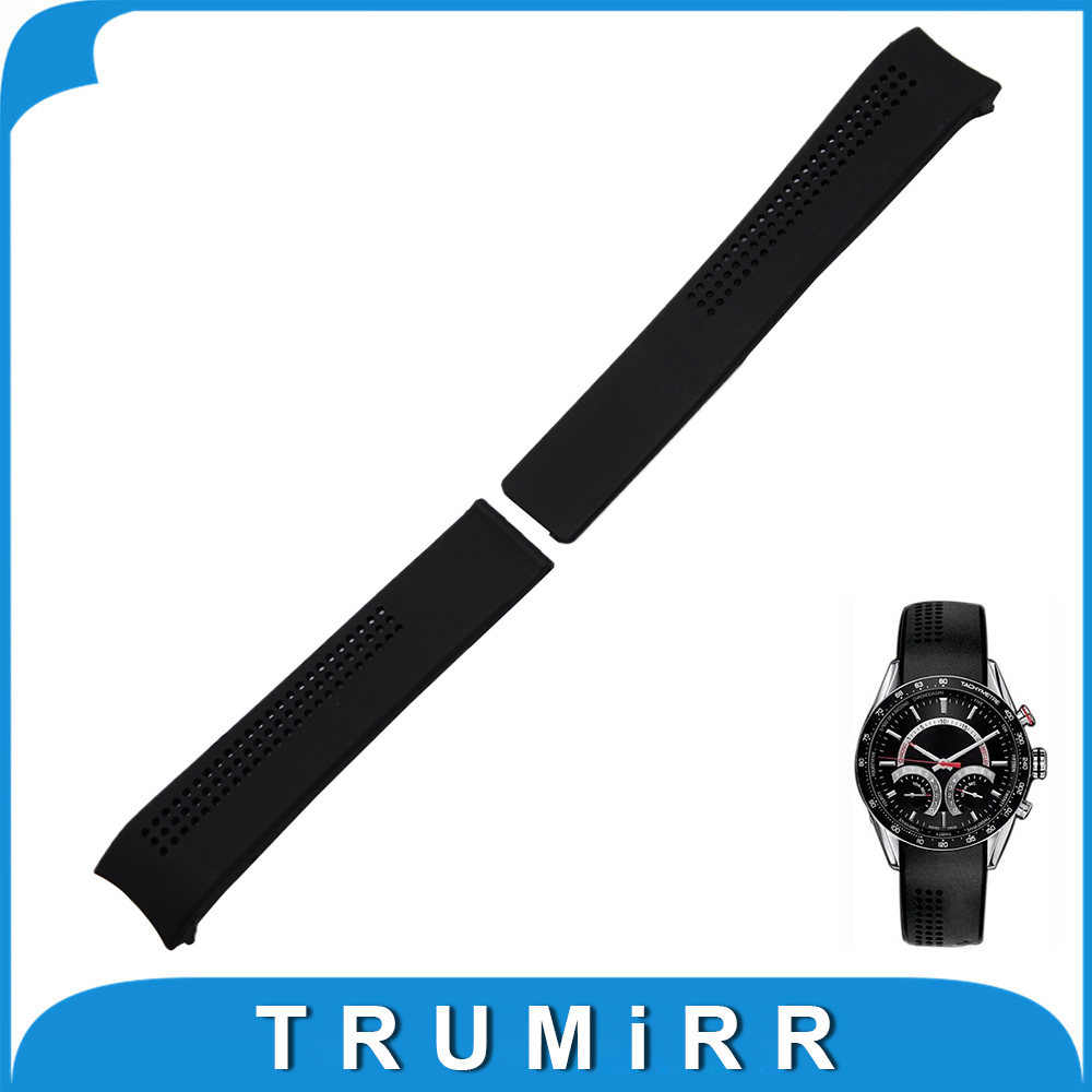 20mm 22mm Silicone Rubber Watchband for TAG Heuer Carrera Watch Band Curved End Strap Steel Buckle Belt Wrist Bracelet Black curved end stainless steel watch band for breitling iwc tag heuer butterfly buckle strap wrist belt bracelet 18mm 20mm 22mm 24mm