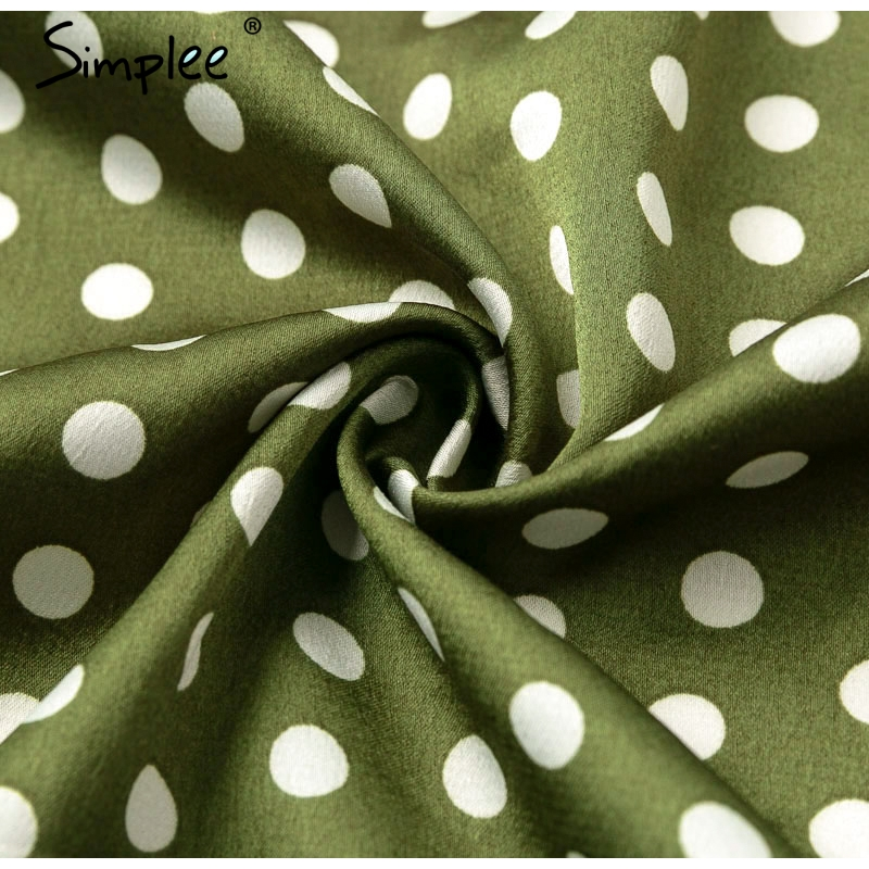 Simplee Vintage dots print satin women summer dress 19 Elegant v neck wrap sashes dresses Sexy female party long dress 16