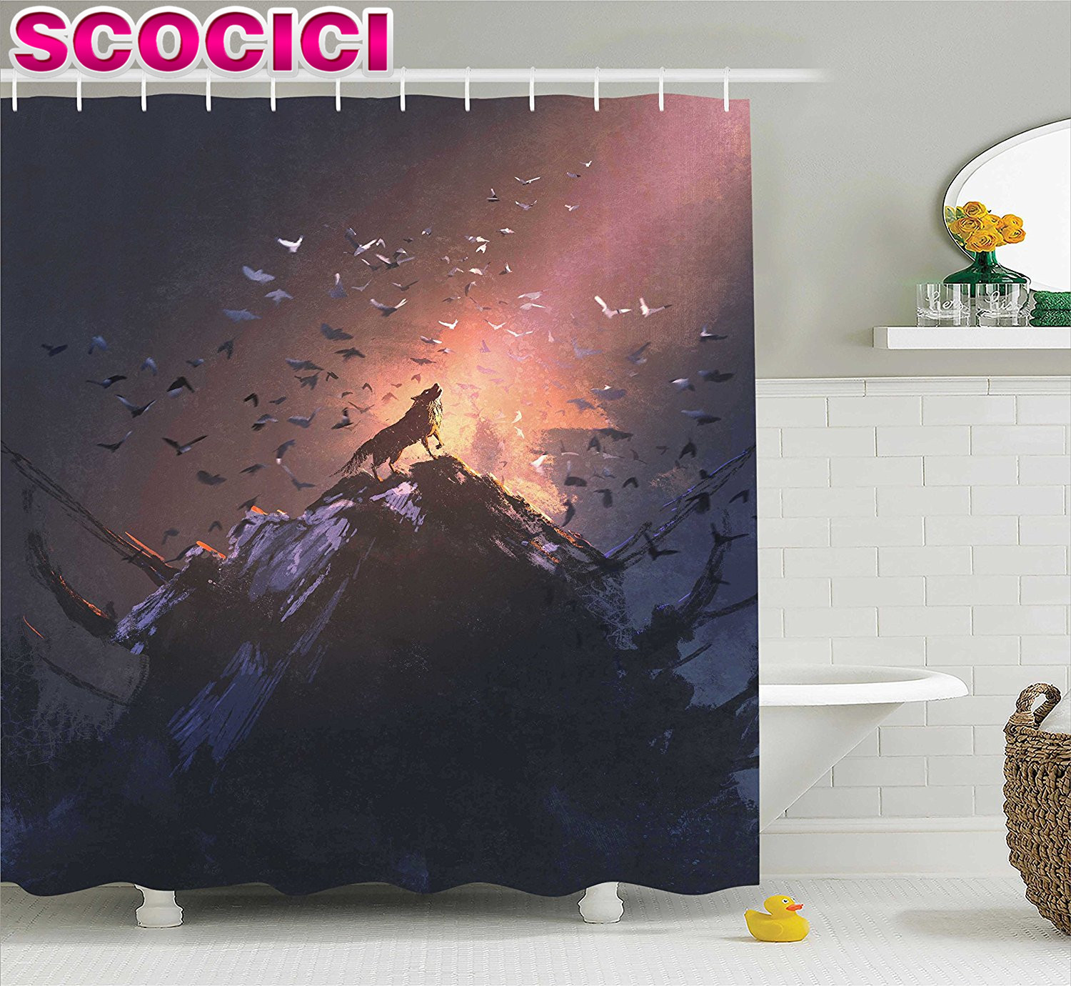Scary shower curtain - Fantasy World Decor Shower Curtain Set Howling Wolf On A Rock Surrounded By Bats Birds Scary