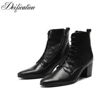 Fashion Brand Black Army Ankle Boots High Heels Botas Militares Cool Lace Up Military Shoes Men Real Leather Cowboy