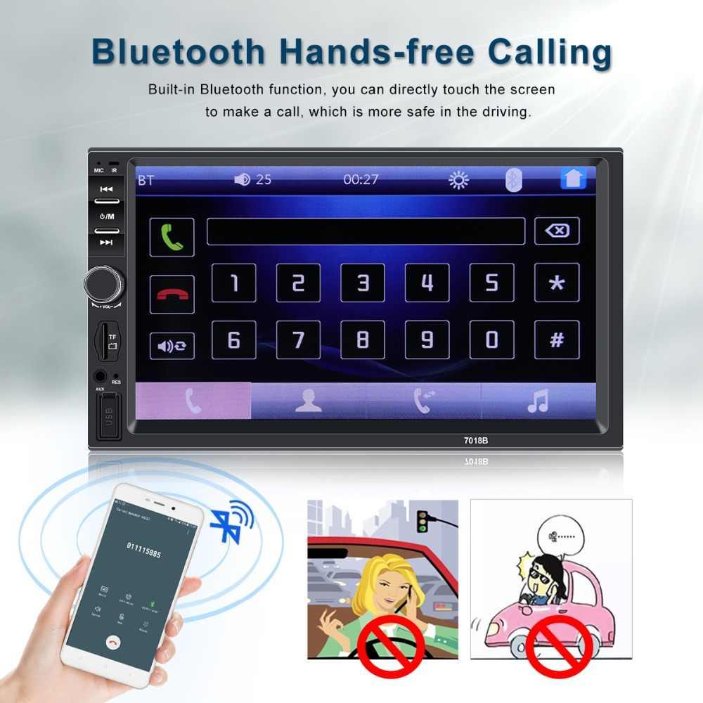 """2 din カーラジオの Bluetooth マルチメディアプレーヤー HD 7 """"autoradio 2din タッチスクリーンの自動オーディオ、カーステレオ MP5 USB TF FM カメラ 7018B"""