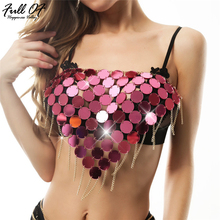 Sexy Bling Metal chain Sequins Crop Tops Women Summer Beach Halter Gold silver Sparkling Nightclub Party cropped Tank top hot HL sexy hollow chest chain crop top women sparkling diamond beading befree summer beach halter nightclub party cropped tank tops hl
