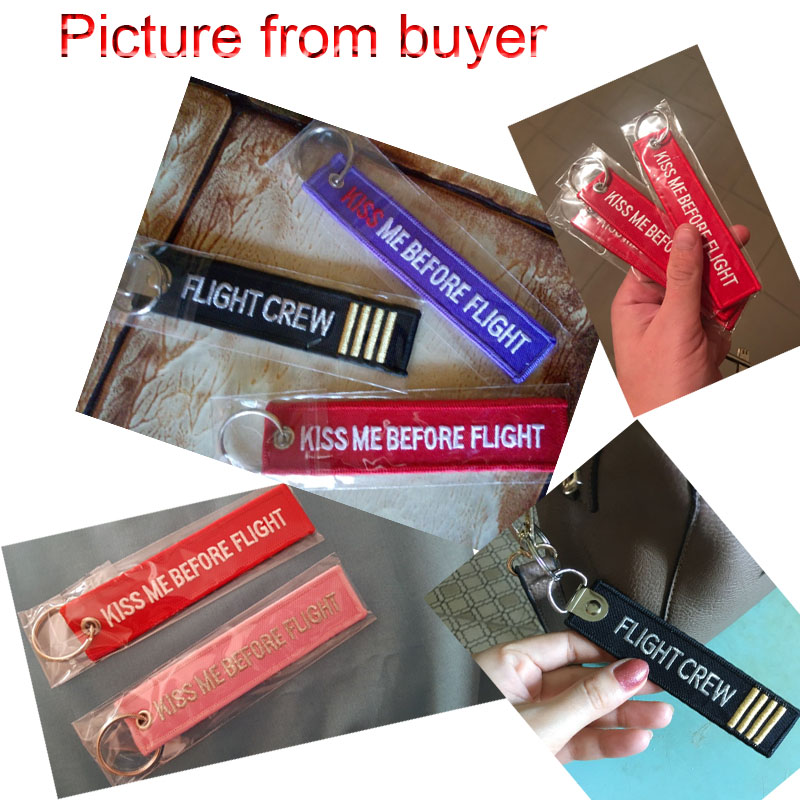 By DHL 200pcs lot KISS ME BEFORE FLIGHT Keychains women Duplex for motorcycle cars Key Chains