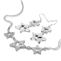 High Quality Women's Sterling Silver Jewelry Set 925 Silver Star Mickey Tassel Necklace Earrings Set Charm Lady Accessories Gift