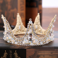 Baroque Large Crystal crown and tiaras Round Prom Queen Crown Wedding Pageant Big Vintage bride Tiara Bridal Hair Jewelry