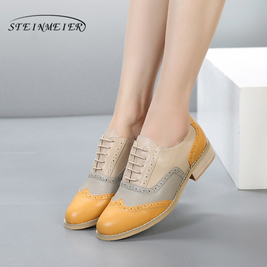 100 Genuine cow leather brogue casual designer vintage lady flats shoes handmade yellow beige oxford shoes