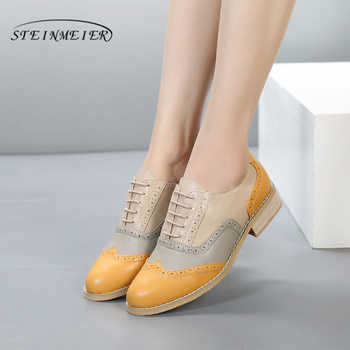 100% Genuine cow leather brogue casual designer vintage lady flats shoes handmade yellow beige oxford shoes for women with fur - DISCOUNT ITEM  52% OFF Shoes