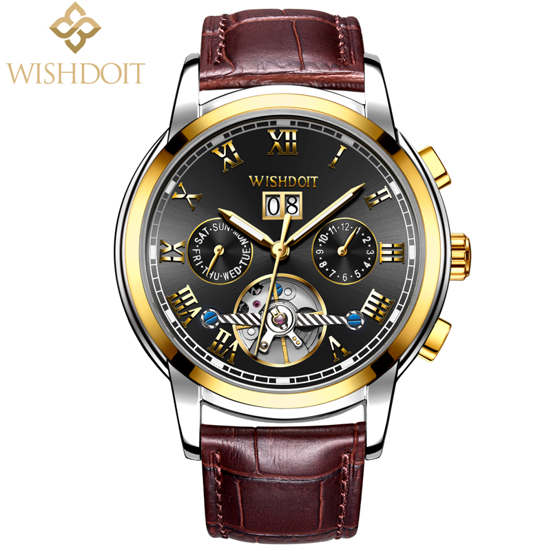 WISHDOIT Mens Watches Top Brand Luxury Automatic Mechanical Watch Men Business Waterproof Sport Watchs relojes hombre Male clock ttlife waterproof quartz watch men business classic big dial watches men leather sport wristwatches brand luxury relojes hombre