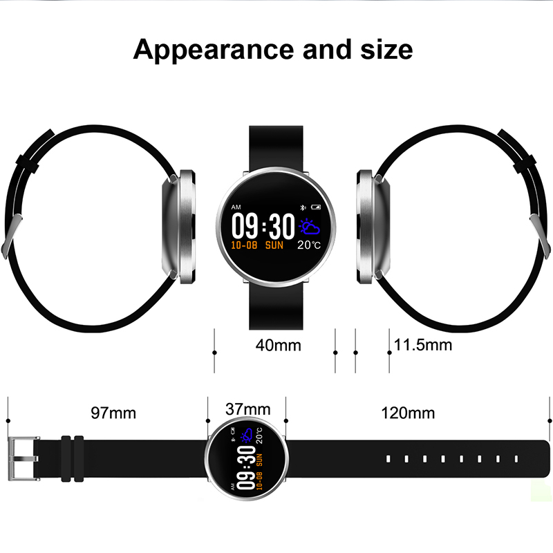 New IP68 waterproof Smart Watch Men Women Heart Rate Monitor Blood Pressure Fitness Tracker Smartwatch Sport Watch f android ios in Smart Wristbands from Consumer Electronics