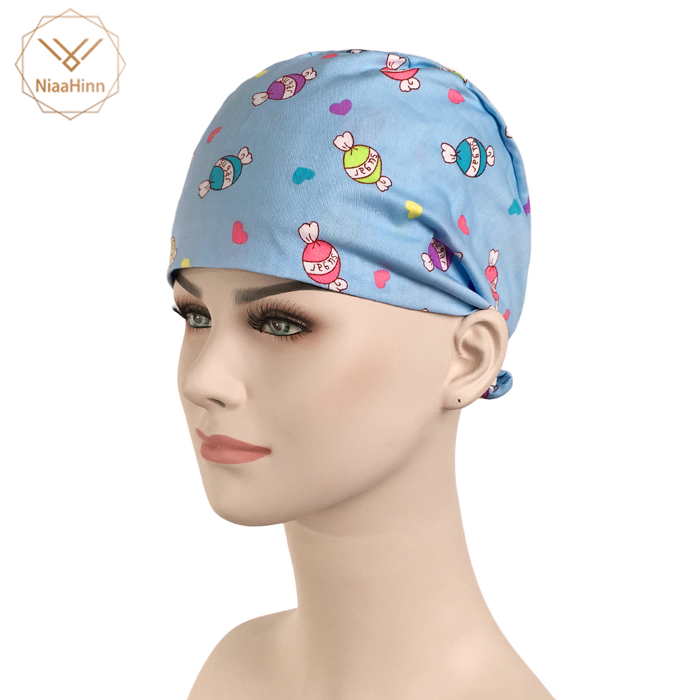 Cartoon Printed Scrub Hats Cotton Surgical Caps For Female Women Doctor Nurse Caps Clinic Pet Hospita Lbeauty Salon Working Hats