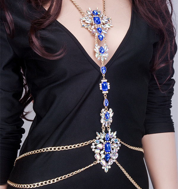 Luxury 1Pcs Gem Bikini Jewelry Harness Crystal Rhinestone Body Chain Pendant 4f1b468d166c