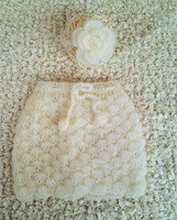 Crochet Mohair Newborn Lacy Skirt And Flower Tieback Photo Prop Girls Summer Style