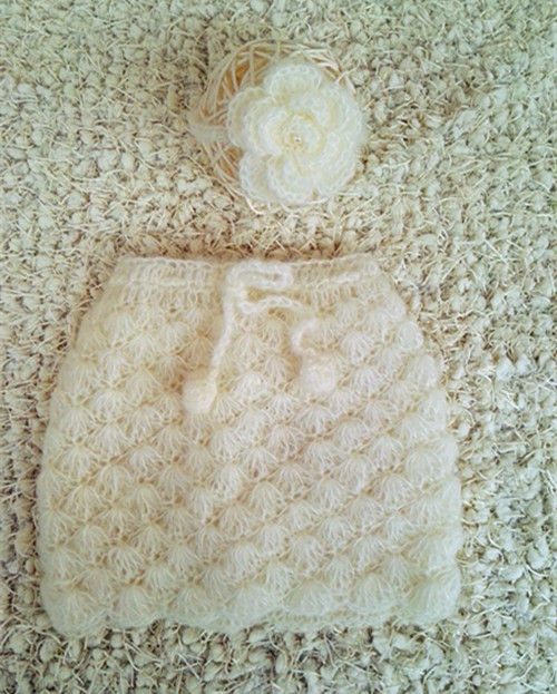 Baby Skirt Crochet Mohair Newborn Lacy Skirt And Flower Tieback