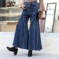 Primavera de Cintura Alta Calças Perna Larga Das Mulheres Novas Calças Jeans Rasgado Franja calça jeans Streetwear 020611