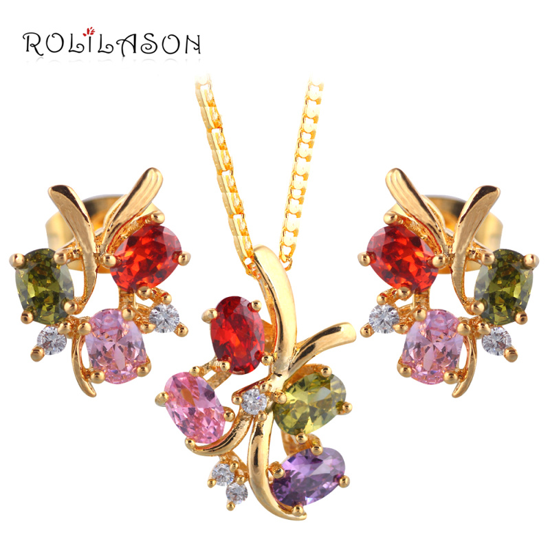 ROLILASON Romantic Hot Sell Gold Tone Necklace/Earrings Color Crystal Fashion Jewelry sets JS694 for Women Party