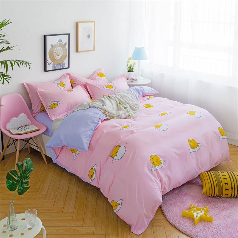 Warm And Comfortable Cartoon Image Egg Yolk Baby Print Pattern Bedding Comfort Queen / King 4pcs Set Quilt Bedding Pillowcase