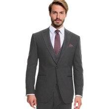 Пользовательские Темно-серые костюмы мужские шерсть Мужские свадебные костюмы смокинги мужского покроя жениха шафер подходит Мужские наборы (куртка + жилет + Штаны)