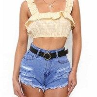 Sexy parte superior do tanque t-shirt da manta curta causal ruffles steerwear colheita top 2018 verão camis camisole mulheres magras feminino