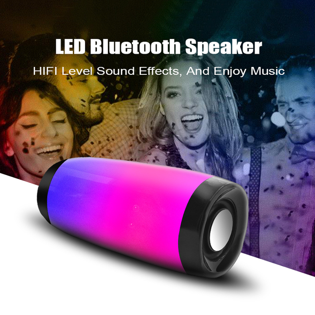 Wireless Bluetooth Speaker LED Portable Boom Box Outdoor Bass Column Subwoofer Sound Box with Mic