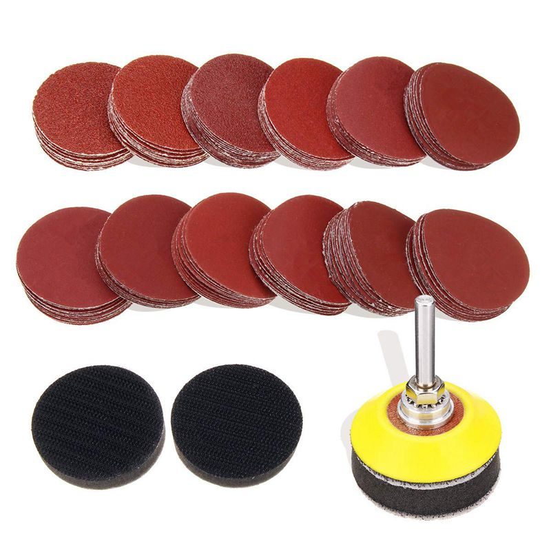 120Pcs 2 Inch Sanding Discs Pad With 1/4 Inch Shank Backer Plate And 2Pcs Sponge Cushions For Drill Grinder Rotary Tools 60-30