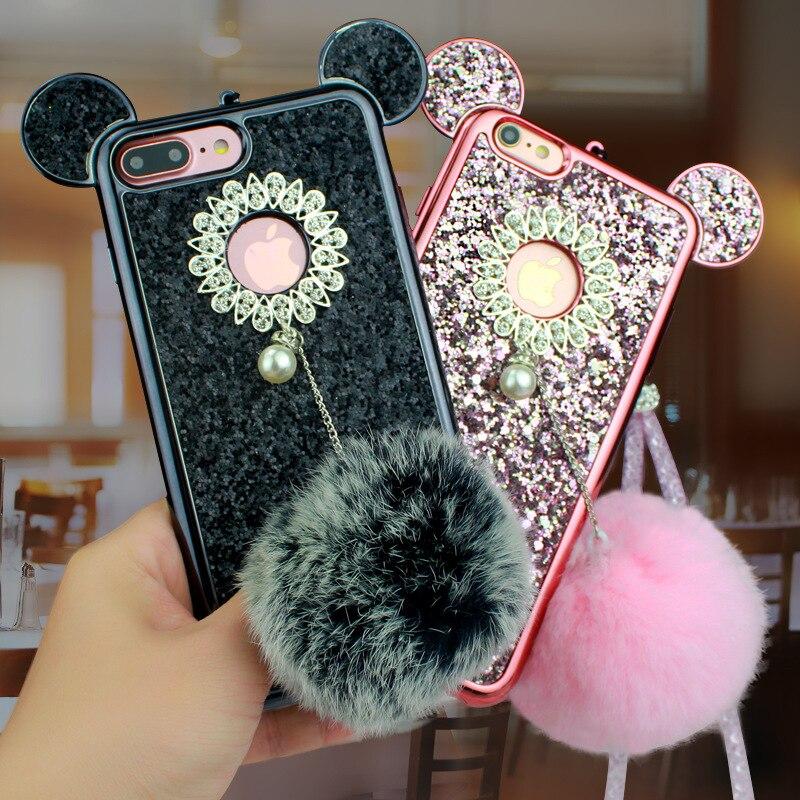 YESPURE Fancy Bling Glitter Cihazı IPhone 6 6s 7 8 plus Celular Fur - Cib telefonu aksesuarları və hissələri - Fotoqrafiya 3