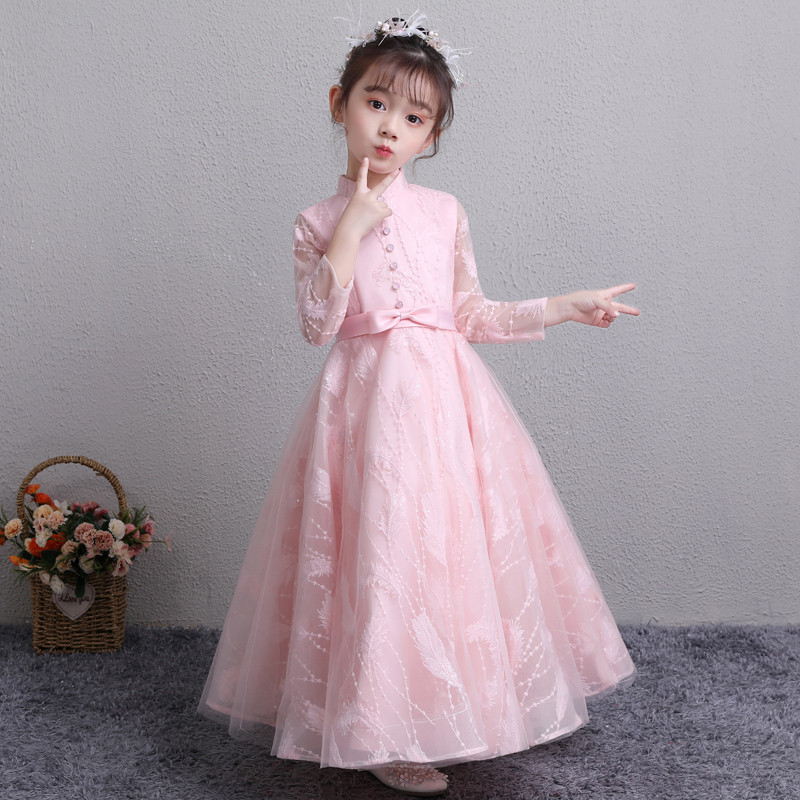 2018 New Children Girls Luxury Long Sleeves Birthday Wedding Pink Color Princess Prom Dress Kids Teens Piano Performance Dress pink lace up design cold shoulder long sleeves hoodie dress