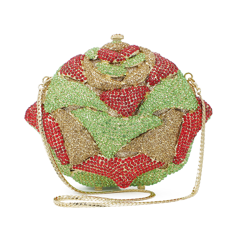 flower shape red and green diamond crystal clutch evening clutch bag ladies  purse (8746A GR)-in Evening Bags from Luggage   Bags on Aliexpress.com  5582b0af6fef