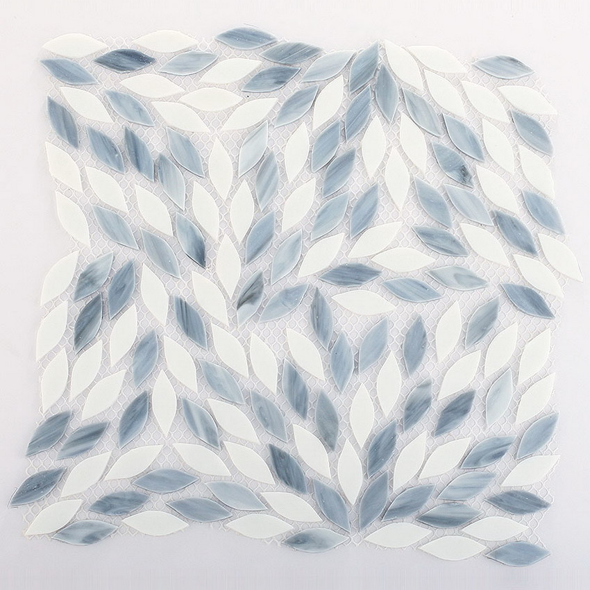Leaf Shape Art Stained Glass Mosaic Tile For Hot Sale