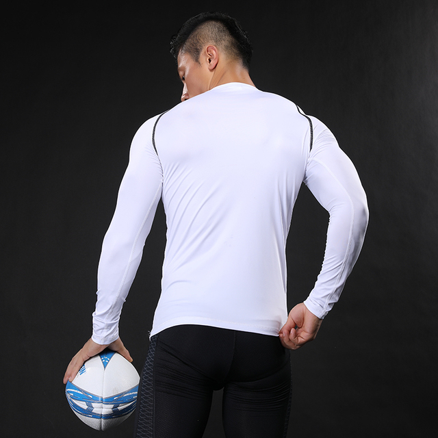 NANSHA Brand Men Compression Shirt Fitness Jogger Exercise Clothes Fashion Casual Solid Long Sleeve T-Shirt