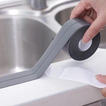 1 rollo de cinta de sellado de pared de baño para bañera de cocina resistente al agua, cinta adhesiva a prueba de moho para reparación de grietas de azulejos