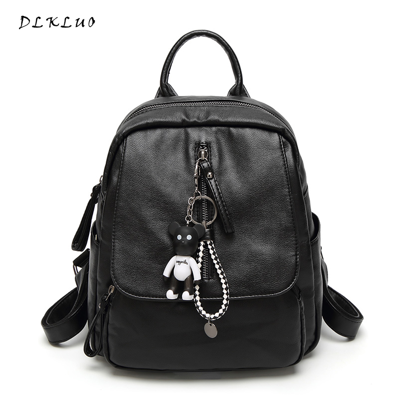 Dlkluo 2017 New Arrival Genuine Leather Women Backpack Soft Casual Travel Bags For Teenage Girls School