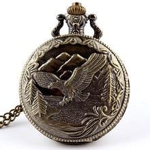 Бронзовый Винтаж Орел fob часы Подвеска цепи кварцевые карманные часы Мужские Женские подарки Relogio De Bolso