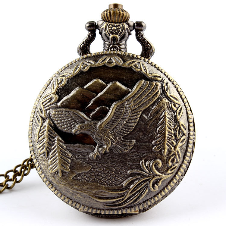 Bronze Vintage Eagle Fob Watches Pendant Chain Quartz Pocket Watch Mens Womens Gifts Relogio De Bolso