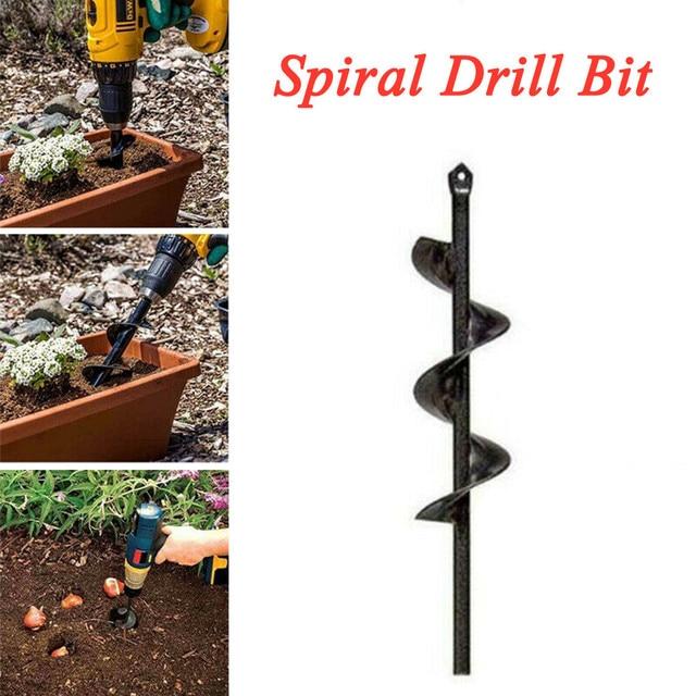 Garden Auger Spiral Drill Bit Roto Flower Planter Bulb HEX Shaft Drill Auger Yard Gardening Bedding Planting Hole  46*370 mm#w