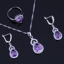 Exquisite Pear Purple Cubic Zirconia White CZ 925 Sterling Silver Jewelry Sets For Women Earrings Pendant Chain Ring V0291