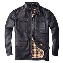 2018 черные длинные M65 натуральная кожа мужские куртки реального Толстая натуральной плюс Размеры 6XL русская зима теплые кожаные пальто бесплатная доставка