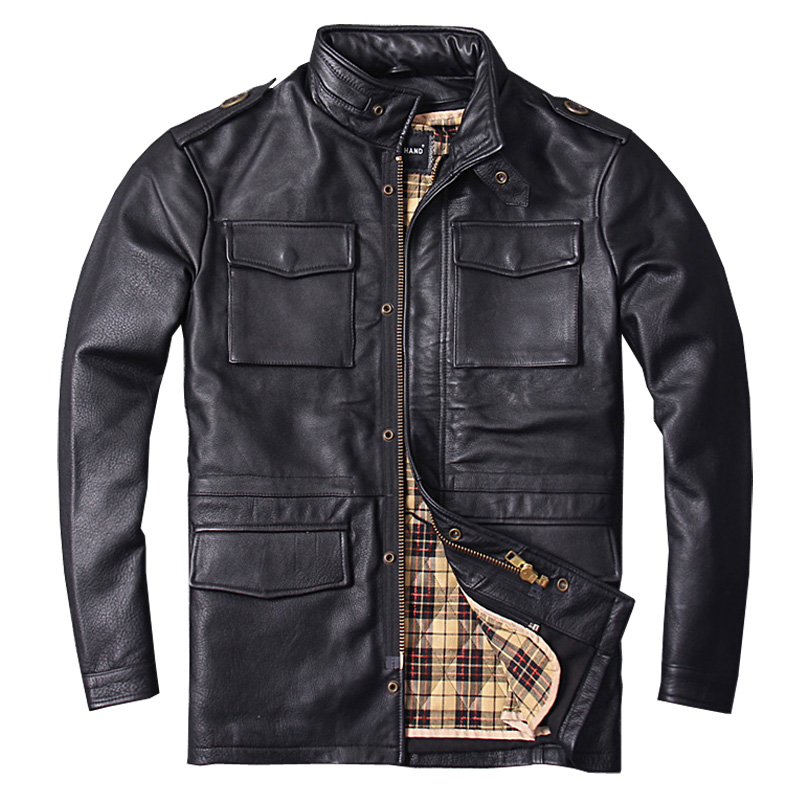 2018 Black Long M65 Genuine Leather Mens Jacket Real Thick Cowhide Plus Size 6XL Russian Winter Warm Leather Coat FREE SHIPPING