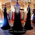 Fabulous preto vestidos de strass coloridos V decote Backless vestido de maternidade vestido de noite