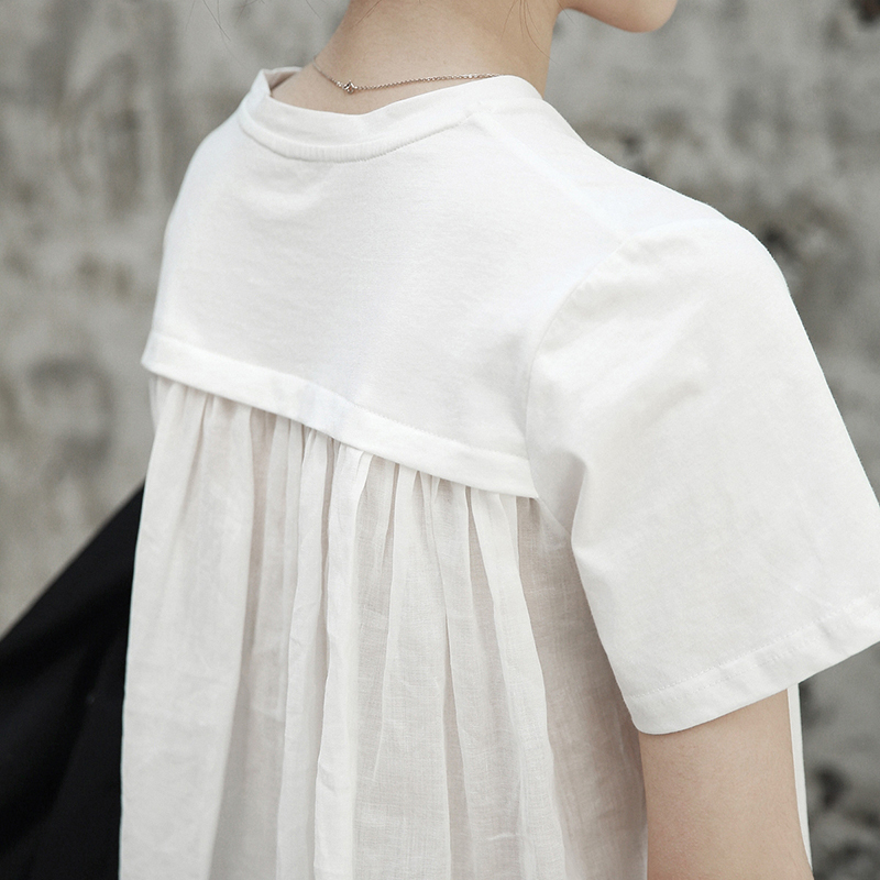 [EAM] 2021 New Spring Summer Round Neck Short Sleeve White Back Long Pleated Stitch Loose T-shirt Women Fashion Tide JR495
