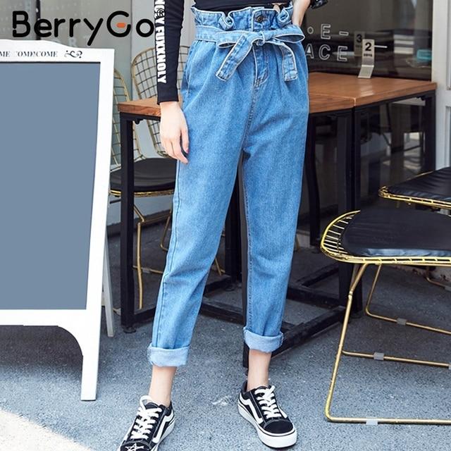 Harem Haute Sash Berrygo Pantalon Streetwear Taille Femmes H29YEDIW