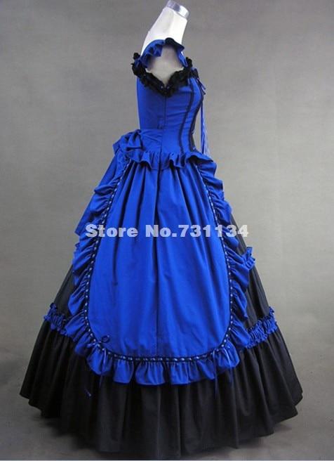 Синий и черный Элегантный и изящный готический, викторианской эпохи платье