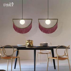 Image 5 - nordic designer tassel glass ball pendant lights for living room bedroom villa hotel home deco suspension luminaire led fixtures