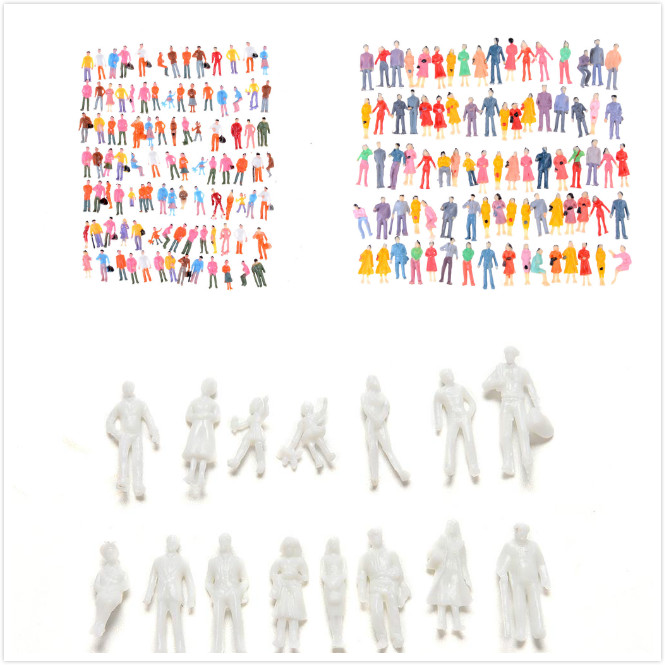 10/100pcs Model People Scale 1:50/1:100/1:150 Mix Painted Model People Landscape ABS Train Park Street Passenger People Figures