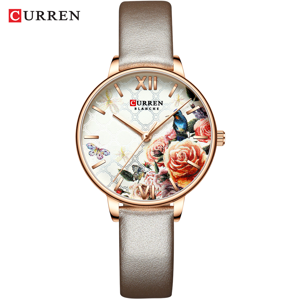 CURREN Beautiful Flower Design Watches Women Fashion Casual Leather Wristwatch Ladies Watch Female Clock Women's Quartz Watch 3