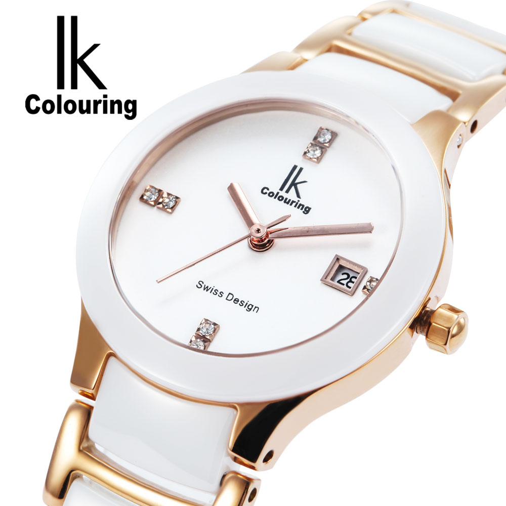 Luxury White Womens Quartz Wristwatches Ceramic Womens Watch white Bracelet Fashion Ladies Casual Waterproof Clock free shipping kezzi women s ladies watch k840 quartz analog ceramic dress wristwatches gifts bracelet casual waterproof relogio