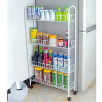 YONTREE 1 PC White 3Tiers/4 Tiers Slim Line Metal   Storage   Cart Folding   Kitchen  /Laundry Room Rolling Organizer H9147