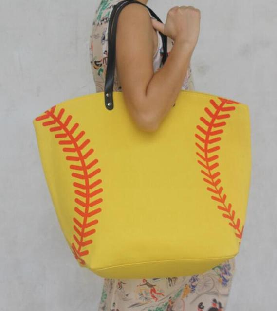 wholesale new yellow softball white baseball Jewelry Packaging Blanks Kids Cotton Canvas Sports Bags Baseball Softball Tote Bag 3