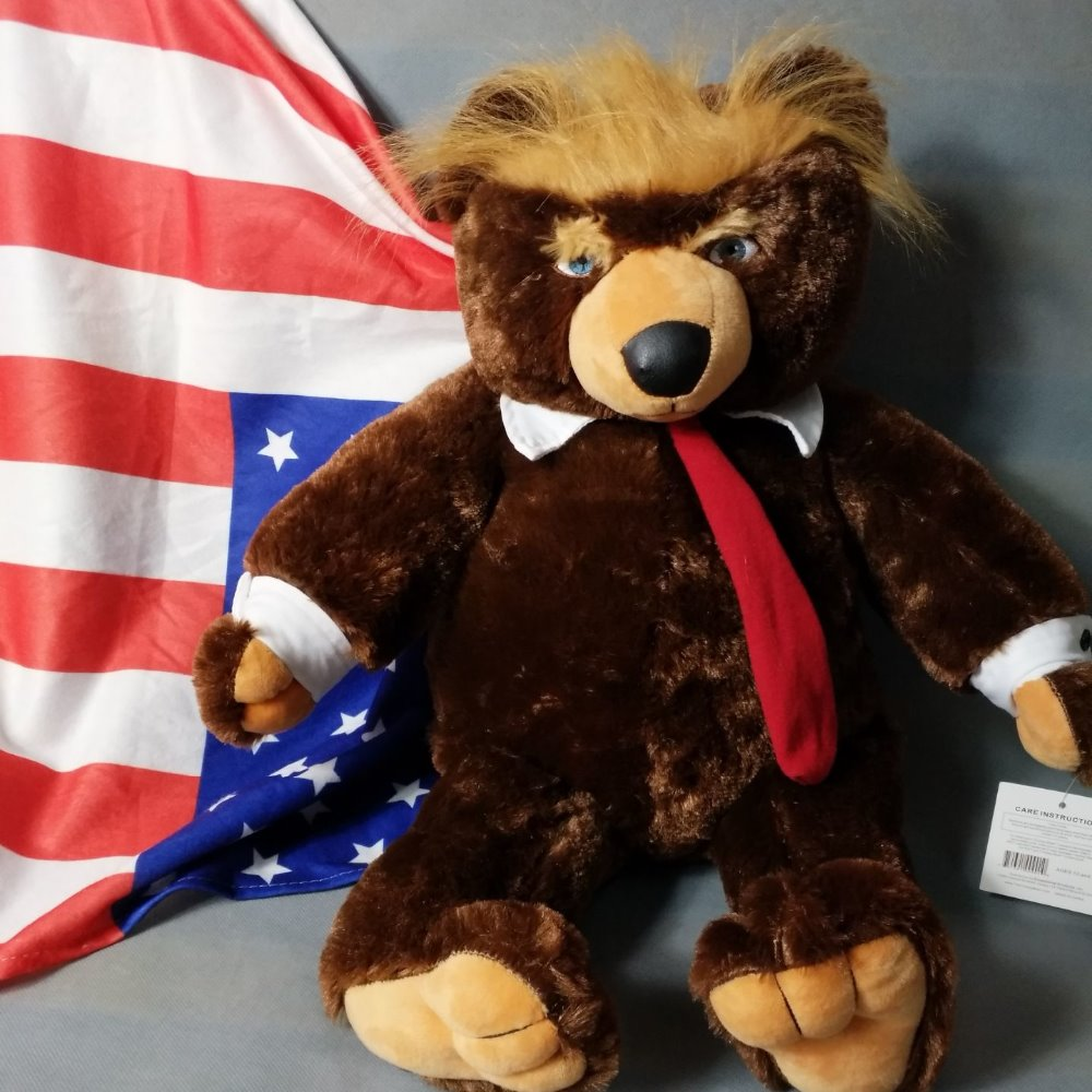 Donald Trump Bear Plush Toys Cool USA President Bear With Flag Cloak Collection Doll Gift For Children Boy 60cm presidential donald trump doll shaking head toys car oranment toy for kids